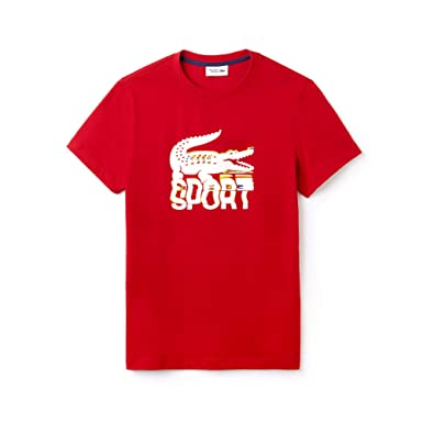 cdc70be4 Lacoste Men' Crew Neck Lettering Jersey Tennis T-Shirt Lighthouse RED/White-