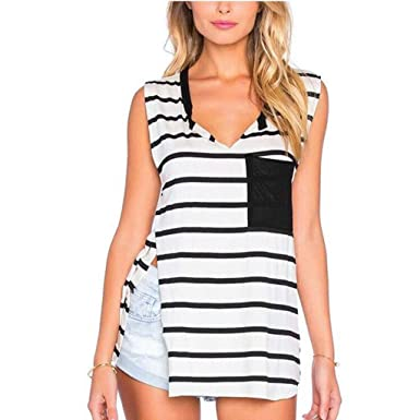 2b17ea82d1a29d KASIDN Women s Summer V Neck Tank Tops Loose Casual Striped Pocket  Sleeveless Tunic for Leggings Swing