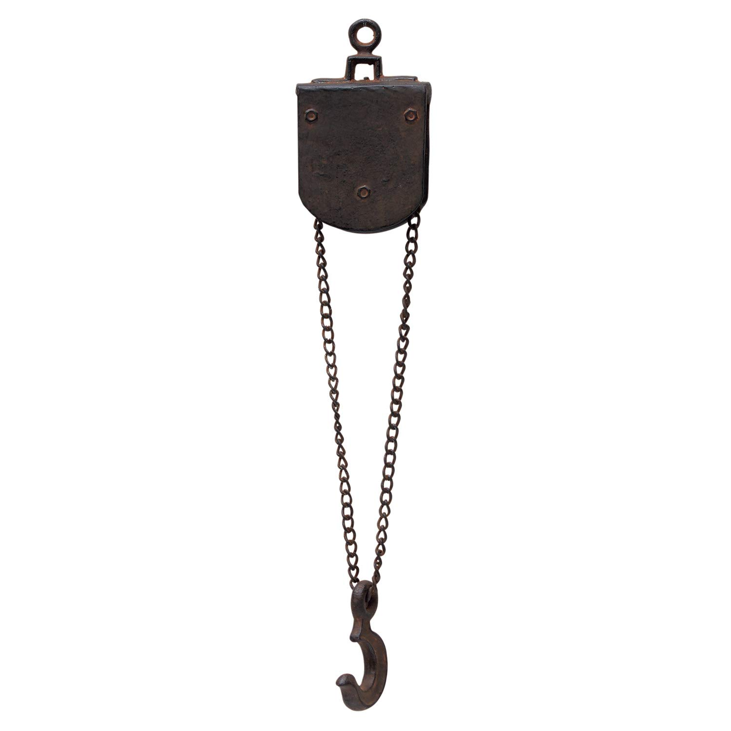 Time Concept Faux Hanging Pulley Chain with Hook - Square - Vintage Factory Style, Artificial Tool, Home Décor
