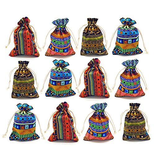 - 12pc Egyptian Style Jewelry Coin Pouches Aztec Print Drawstring Gift Bag Party Accessories Brocade Cotton Sachet Candy Present Pouch Travel Purse Ethnic (Egypt 12)