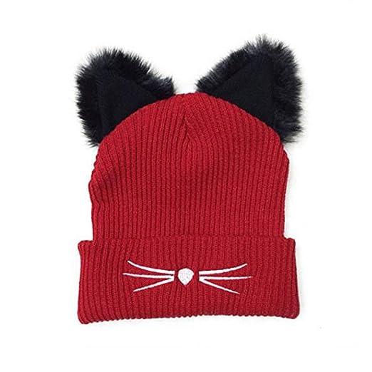 6573da3cc1f19 Amazon.com  Zgllywr Women s Hat Cat Ear Crochet Braided Knit Caps ...