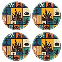 Luxlady Natural Rubber Round Coasters IMAGE ID: 31853658 Halloween card with modern flat elements Vector illustration