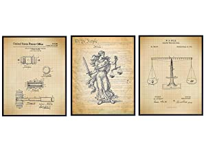 Law Attorney Patent Wall Art Print Set - Home Decor for Office, Den, Man Cave, Living Room, Bedroom - A Perfect Gift for Attorneys, Paralegals, Judges and Legal Professionals - 8x10 photo - Unframed