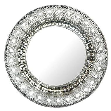 Lulu Decor, Oriental Round Silver Metal Wall Mirror, Frame Size 19 (Oriental Round)