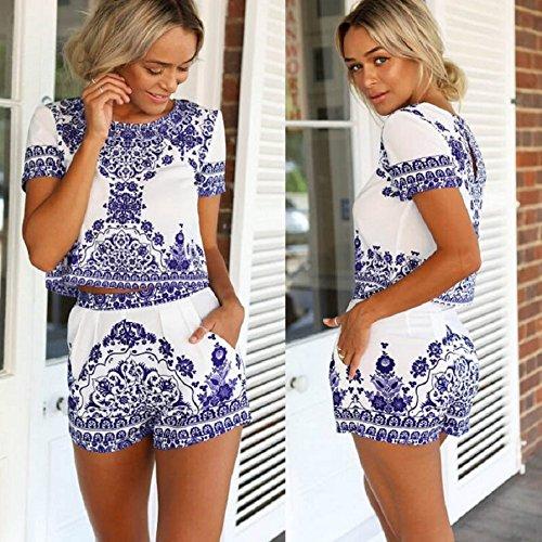 Malloom® Les Femmes Bleu Et Blanc Chemise à Manches Courtes Et Des Shorts Pantalons Courts