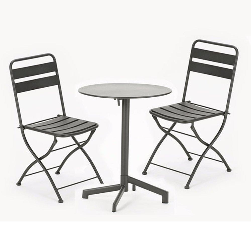 スチールフォールディングテーブル 3点セット(テーブル1台、チェアー2脚) B07BMN75FK