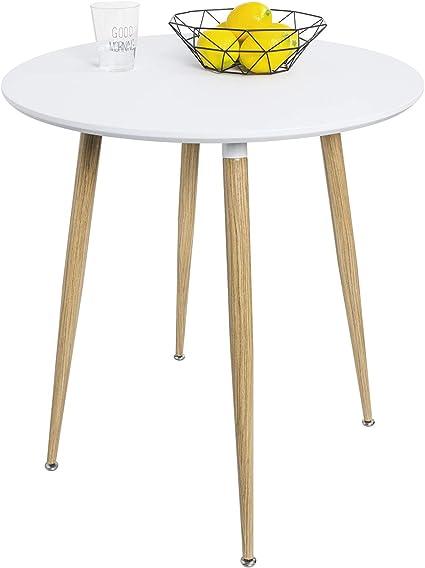 WOLTU BT29ws Tavolo da Pranzo Rotondo Tavolino per Cucina Bar in Legno Colore Bianco 70x70x78 cm