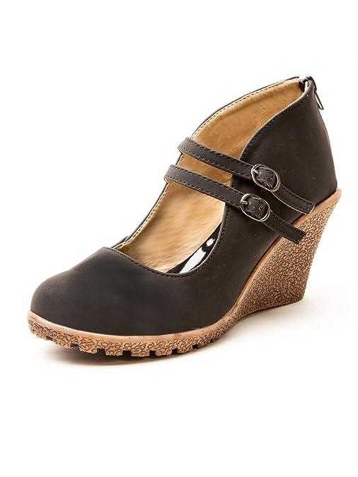 MarcLoire Women Wedge Heels, Girls Fashion Sandals, Closed Toe Wedge Sandals, Women's Heels with Back Zipper - Synthetic, Black Ballet Flats at amazon