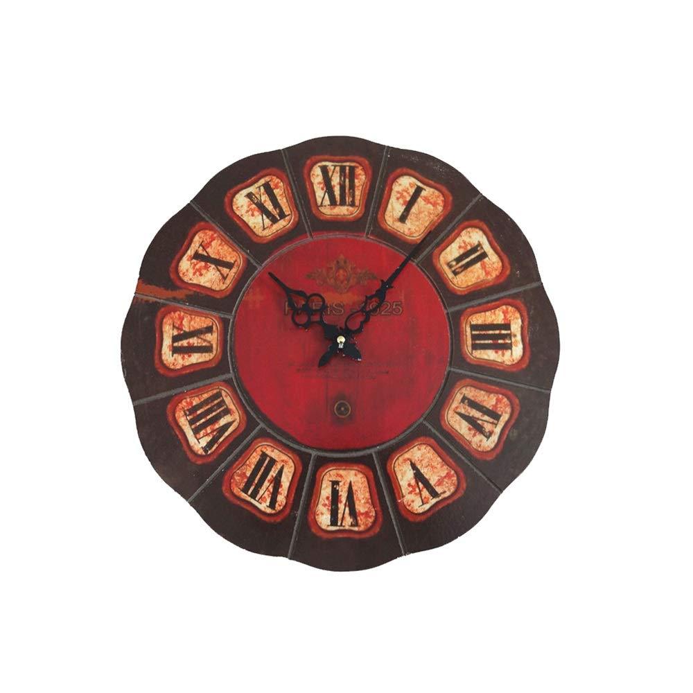 ヴィンテージ木製掛け時計、三次元ラウンド彫刻時計、家族の寝室の研究に適してキッチンバーレストラン24インチ   B07RT7L5QZ