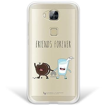 WoowCase Funda Huawei GX8 / G8, [Hybrid] Friends Forever Galleta y Leche Case Carcasa [Huawei GX8 / G8] Rígida Fabricada en Policarbonato y Bordes de ...