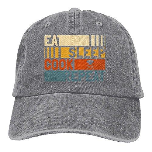 Unisex Eat Sleep Cook Repeat Cotton Denim Baseball Cap Adjustable Solid Hat For Men Or Women (Womens Cap Cook)
