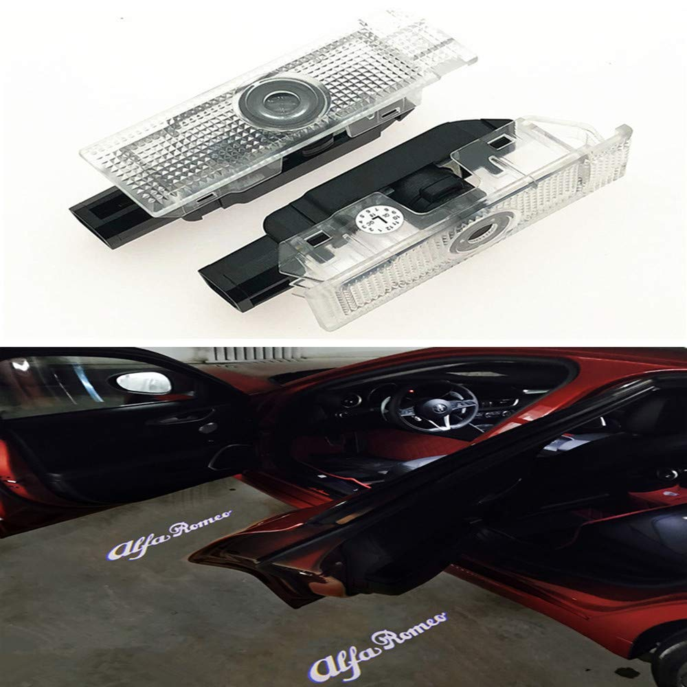2x LED Door Courtesy Shadow Ghost Lamp Projector Light for Stelvio Mito Giulietta Giulia Brera 159