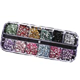 1200pcs 2mm Round Rhinestons 12 Colors Hard Case Nail Art Tips Acrylic UV Gel