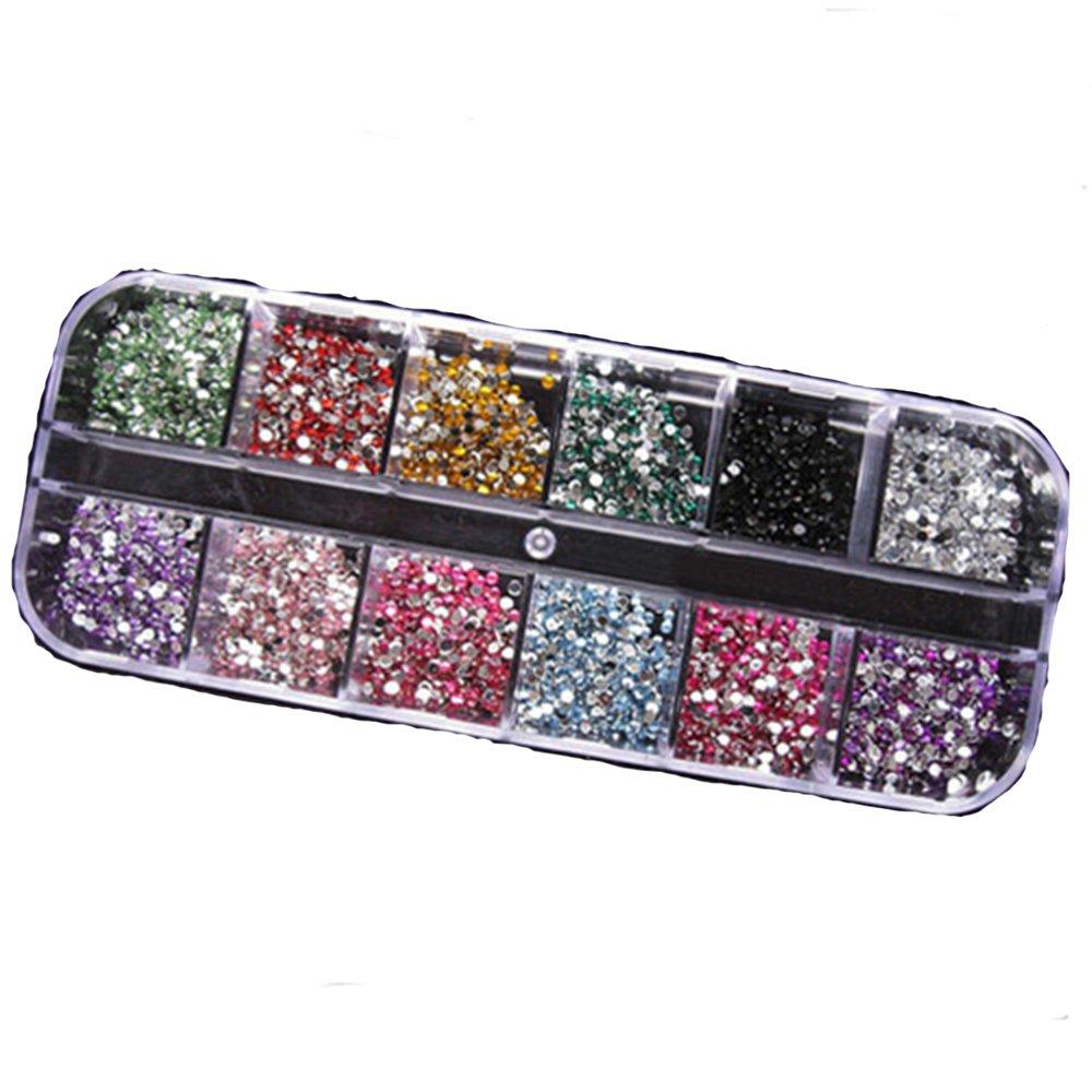 1200pcs 2mm Round Rhinestons 12 Colors Hard Case Nail Art Tips Acrylic UV Gel Sanwood