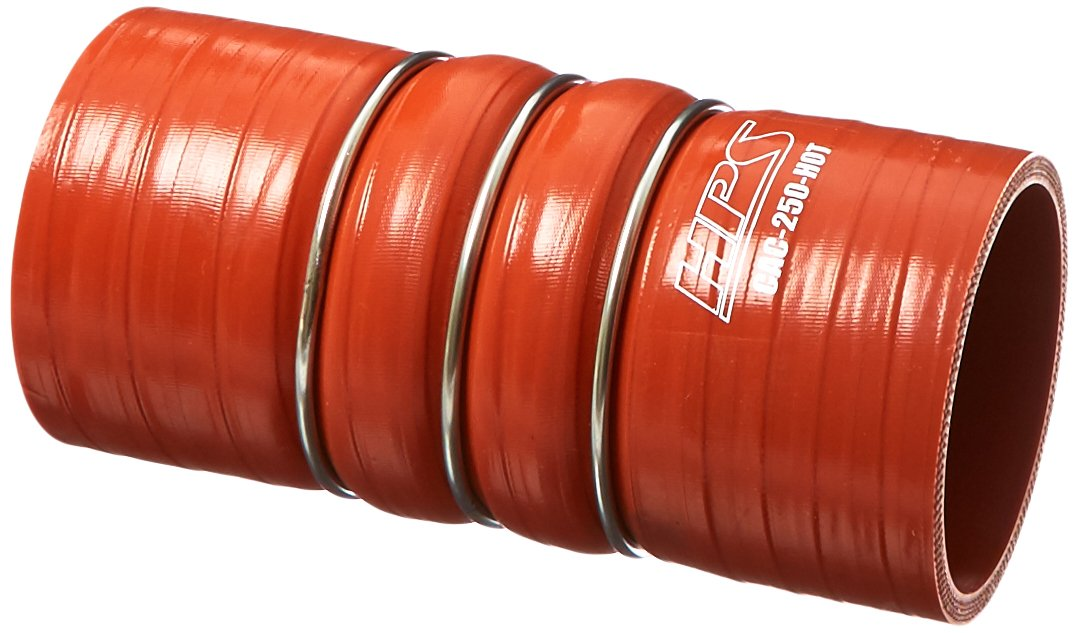 HPS CAC-250-HOT Silicone High Temperature 4-ply Aramid Reinforced Charge Air Cooler CAC Hose Hot Side, 100 PSI Maximum Pressure, 6'' Length, 2-1/2'' ID, Orange by HPS