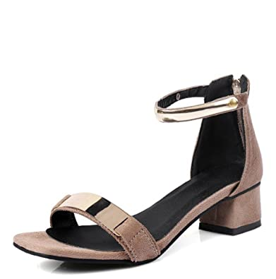 04fb217257a Easemax Women s Mid Chunky Heel Zip Up Faux Suede Open Toe Ankle Strap  Sandals with Mental