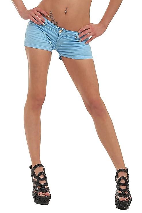 Fashion4Young 10021 Damen Sexy Stretch-Denim Hotpants Short kurze Hose verfügbar in 5 Gr. 6 Farben
