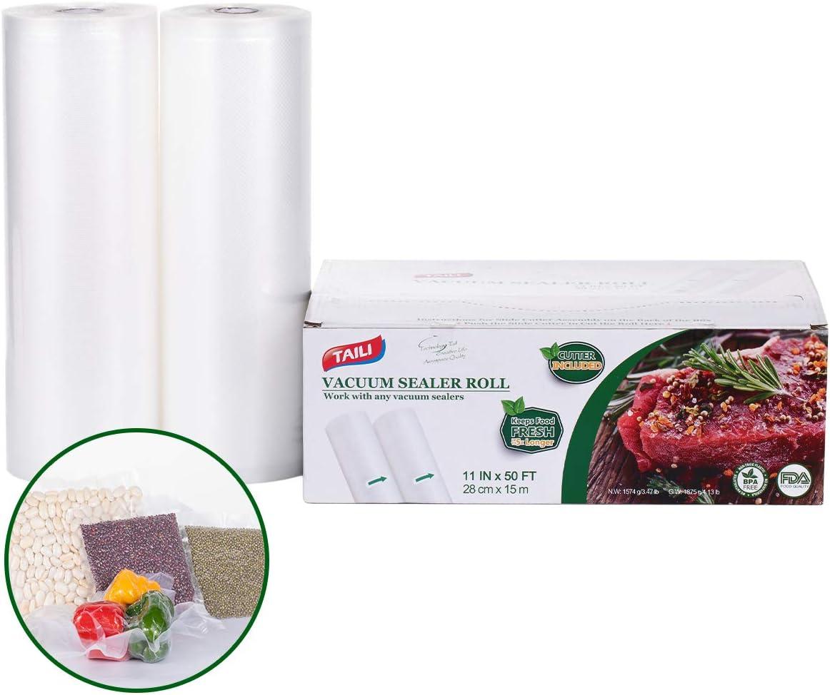 "TAILINK Vacuum Sealer Bags Rolls 2 Pack-11"" x 6"", Food Storage Saver Commercial Grade Bag (Total 200""), Great for vac Storage, Meal Prep or Sous Vide"