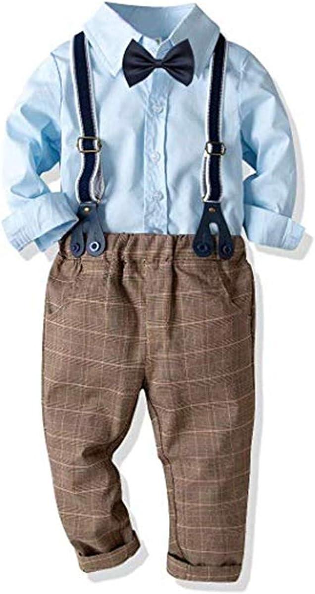 FAIRYRAIN Kleinkind Baby Jungen Gentleman Outfits AHemd mit Fliege Hose mit Tr/äger Baumwolle Kleinkinder Set