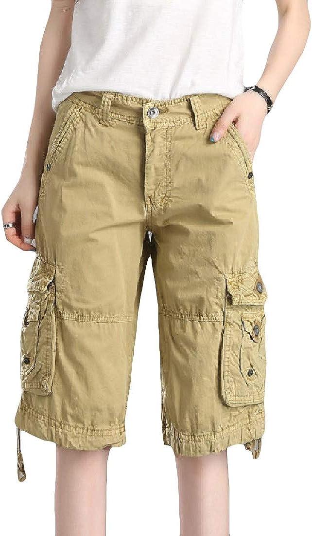 Doanpa Womens Pockets Outdoor Workout Trousers Cargo Pants Shorts