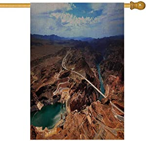 EMMTEEY House Flags 28x40 Double Sided Seasonal Burlap Yard Outdoor Decoration for Kids Outdoor House Flag Grand Canyon USA Panoramic View of and The River Bridge in National Park Az a Hoover Dam