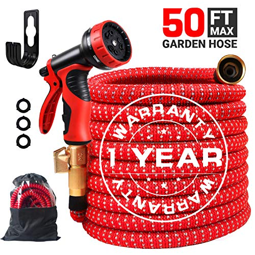 COCTN 50ft Red Garden Hose Expandable Water Hose, Durable Flexible Hose, 9 Function Spray Hose Nozzle with 3/4″ Solid Brass Connectors, Extra Strength Fabric, 2019 Upgraded Lightweight Expanding Hose