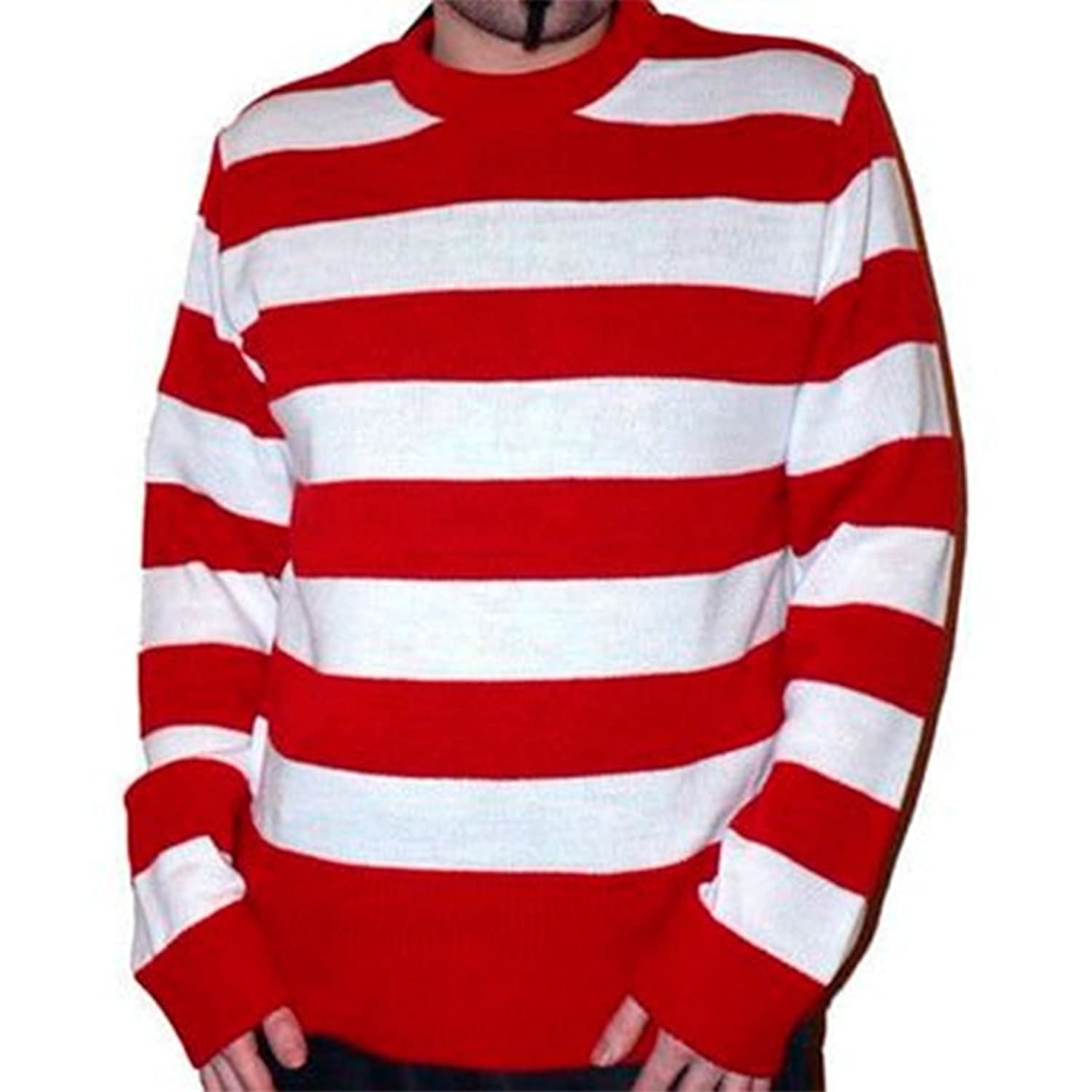 Mens Two Colour Striped Stripy Stripe Jumper Sweater (Large, Red ...