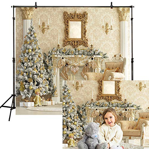 (Funnytree 10x10ft Royal Gold Christmas Fireplace Backdrop Damascus Luxury House Pine Tree Chair Candles Photography Background Vintage Interior Family Portrait Photo Studio Photobooth Props)