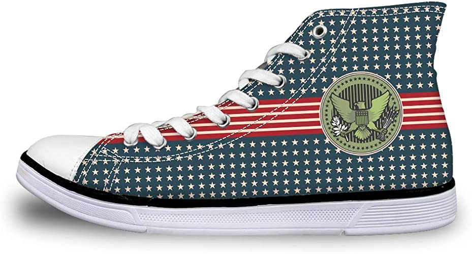 Canvas Low Top Sneaker Casual Skate Shoe Mens Womens Stars and Stripes Bald Eagle Seal
