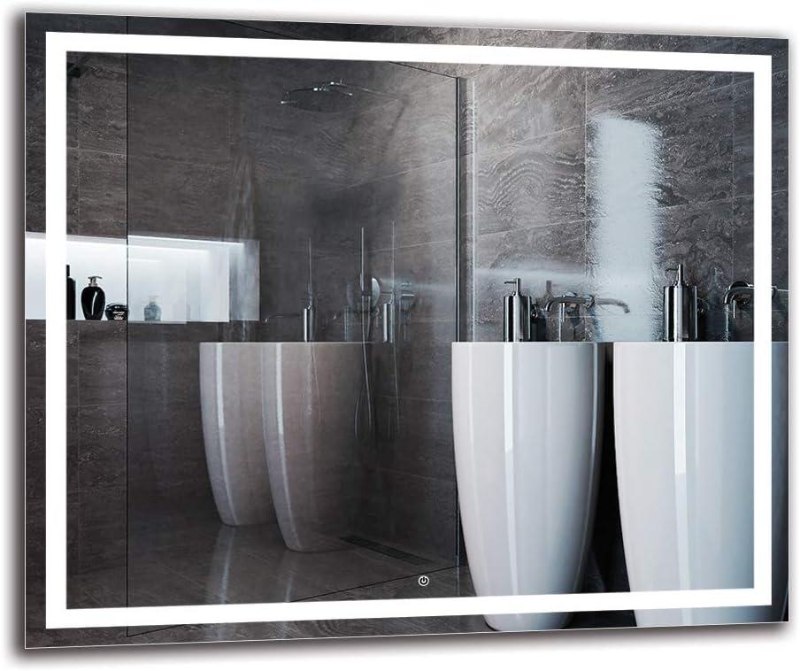 Espejo LED Deluxe - Dimensiones del Espejo 120x100 cm - Interruptor tactil - Espejo de baño con iluminación LED - Espejo de Pared - Espejo con iluminación - ARTTOR M1CD-47-120x100 Blanco cálido 3000K: Amazon.es: Hogar