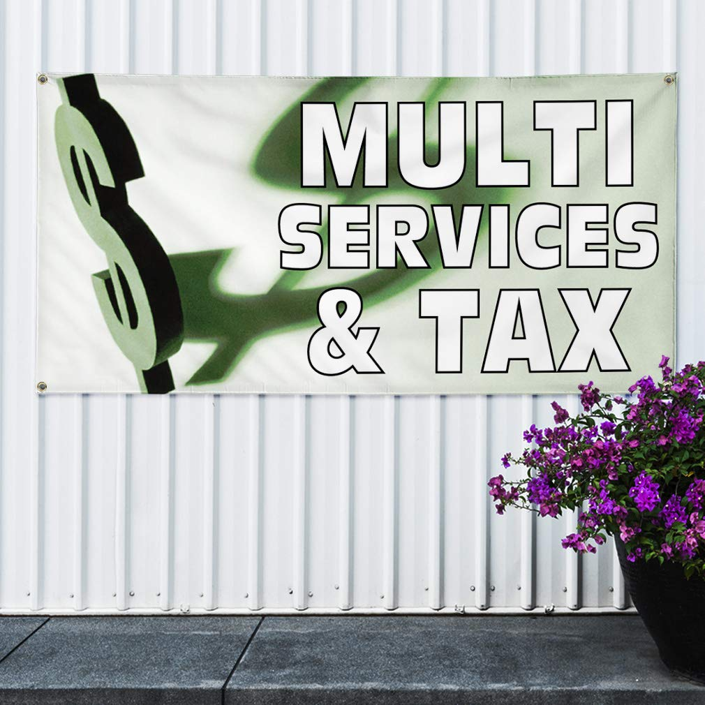Vinyl Banner Sign Multi Service /& Tax Business Outdoor Marketing Advertising White Multiple Sizes Available 44inx110in One Banner 8 Grommets