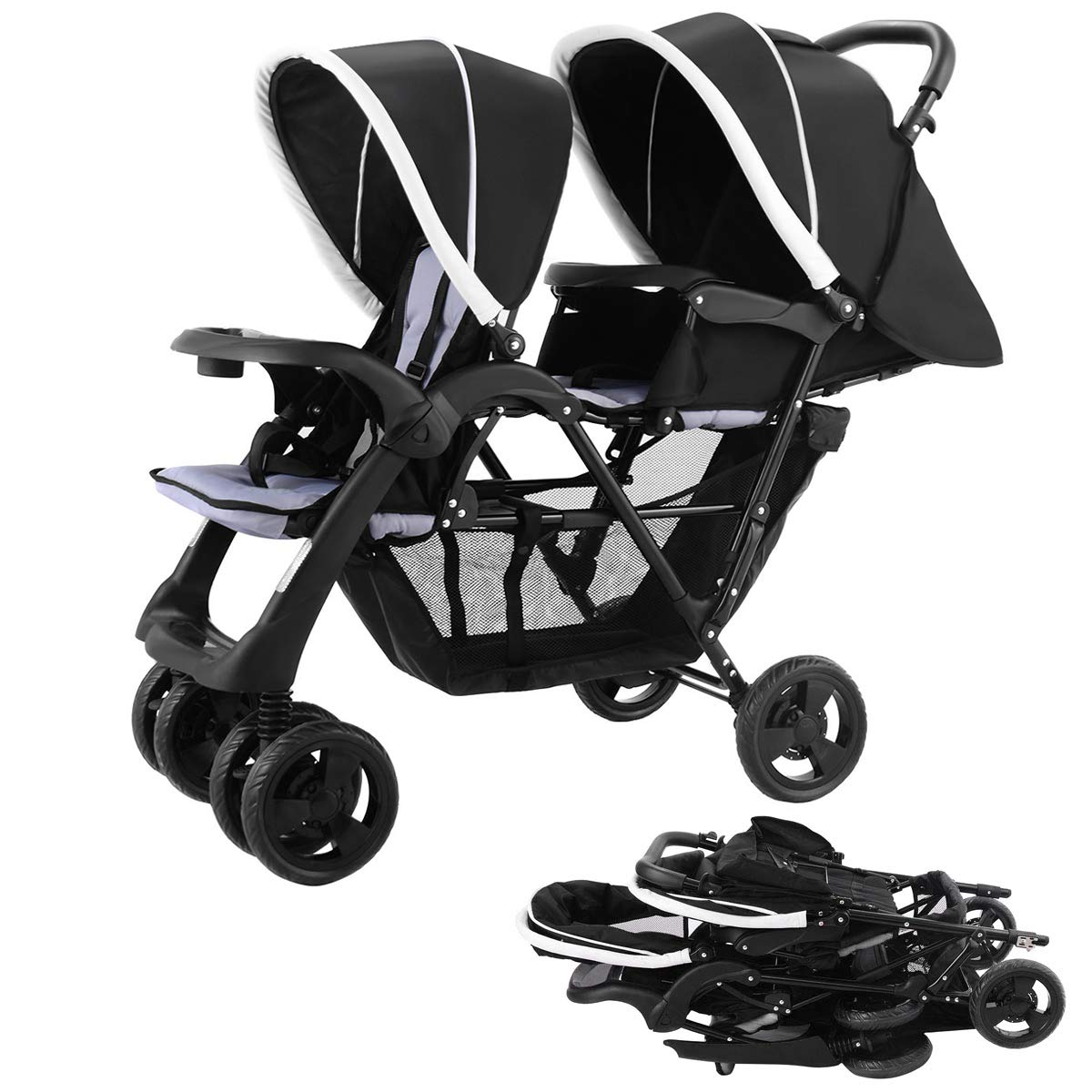 Costzon Foldable Double Stroller Baby Infant Pushchair Travel Jogger w/Storage Basket