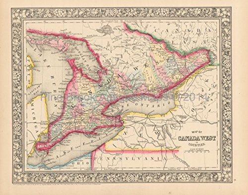 Ontario Canada West Antique Map Mitchell 1864 Authentic Canadian Decor History Gift Idea