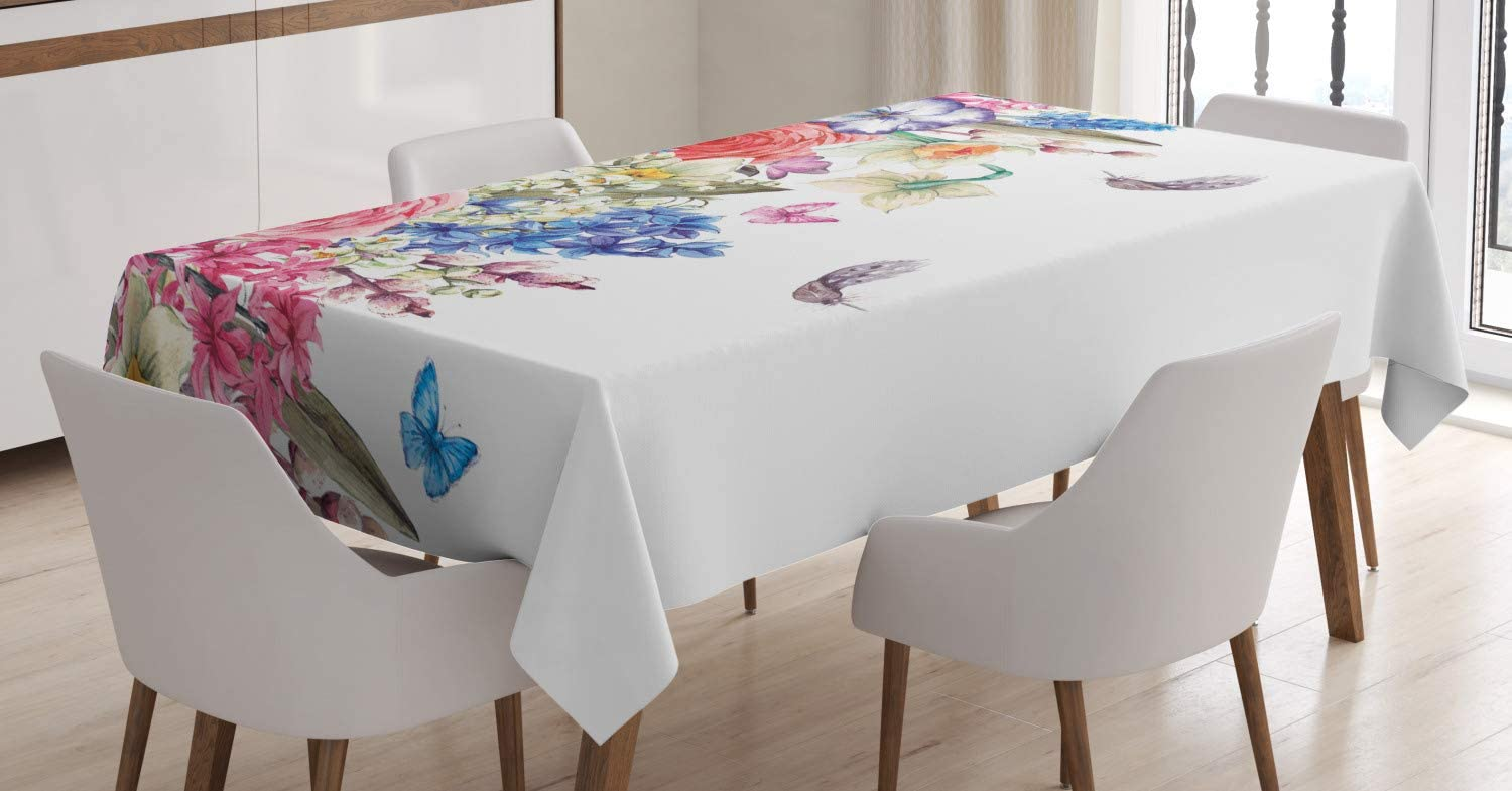 Ambesonne Flower Tablecloth, Vintage Vivid Wreath with Daffodils Hyacinths Chamomile Lilies Butterfly Picture, Rectangular Table Cover for Dining Room Kitchen Decor, 60