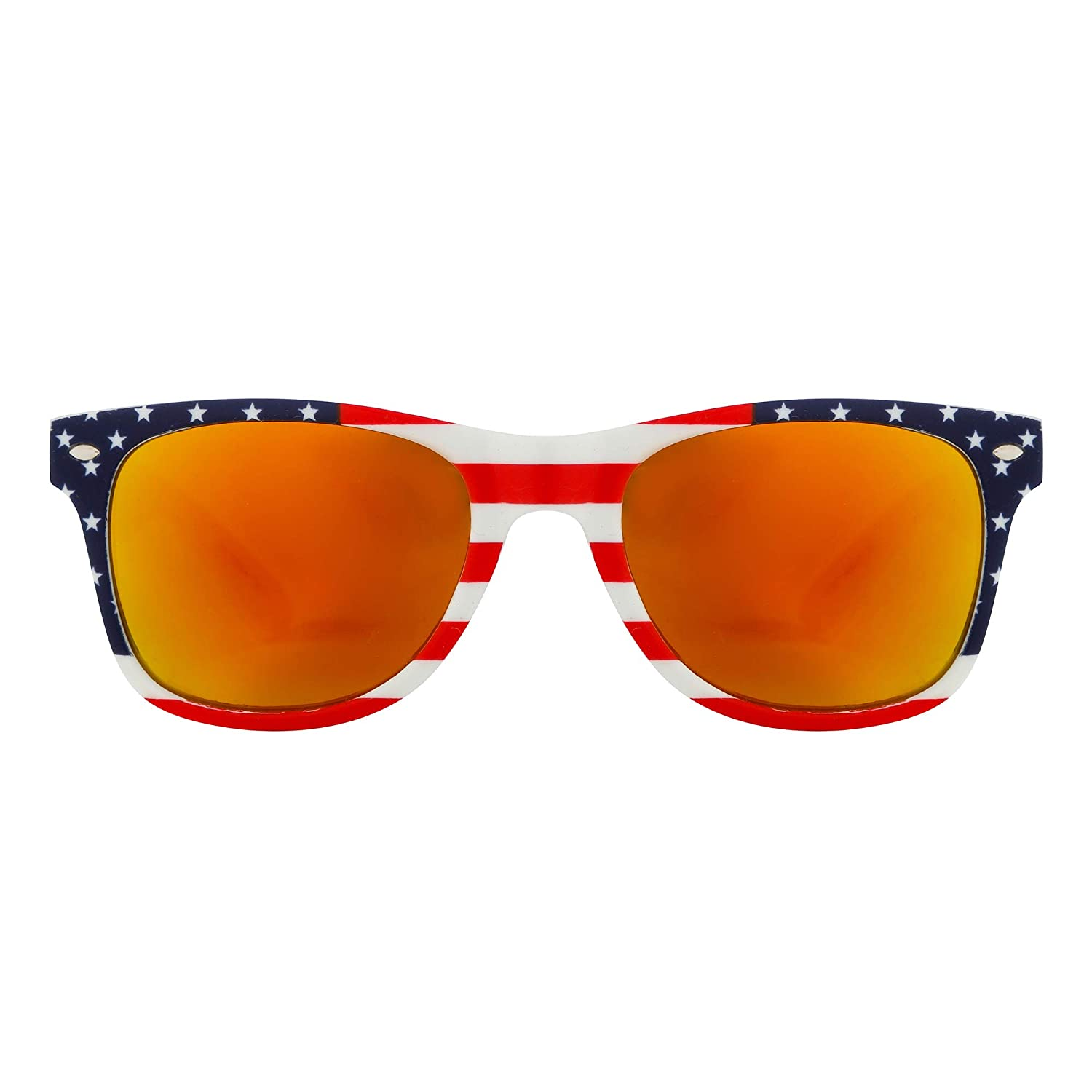 1beb2f7714c Amazon.com  USA Flag Sunglasses Shades Mirror Finish Stars   Stripes  Classic Style With UV400 Protection Men Women Patriots  Clothing