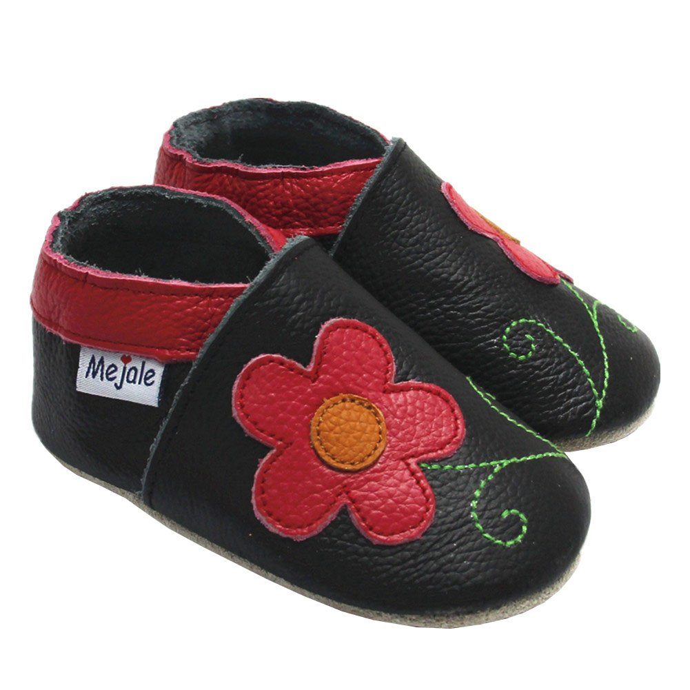 Mejale Soft Sole Leather Baby Shoes First-Step Shoes Toddlers Kids Slippers Cartoon Flower