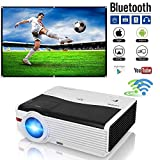 CAIWEI LED Wifi HD Projector 1080P HDMI Home Cinema Gaming WXGA 5000 Lumens Android 6.0 Bluetooth Projector Wireless for iPhone iPad Mobile Phone Blu ray DVD Player TV Xbox PS3 PS4 Wii U Consoles Mac PC Laptop TV 200 Inch Screen Movie Projectors