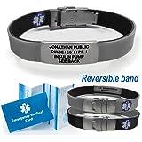 Sport/Slim Reversible Waterproof Medical Alert Bracelet. Incl. 9 lines engraving. BLACK / GRAY
