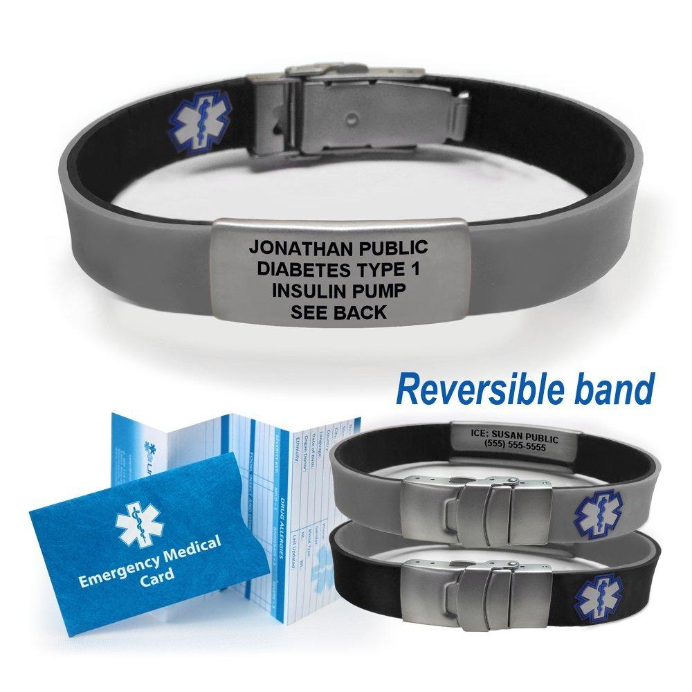 Sport/Slim Reversible Waterproof Medical Alert Bracelet. Incl. 9 lines engraving. BLACK/GRAY by Universal Medical Data