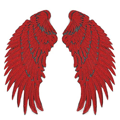 Artem 1 Pair Red Sequins Angel Wings Sew On Iron On Patch DIY Embroidered Applique Bling Wings for Jackets Cloth Decoration Accessory Stickers Gifts 4 Colors