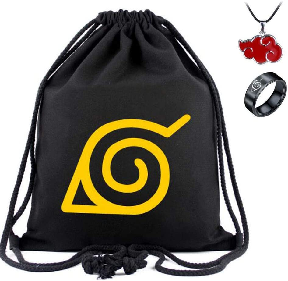 Jintoong Anime Naruto Drawstring Bag Backpack Travel Gym Sport Bag with Necklace and Ring