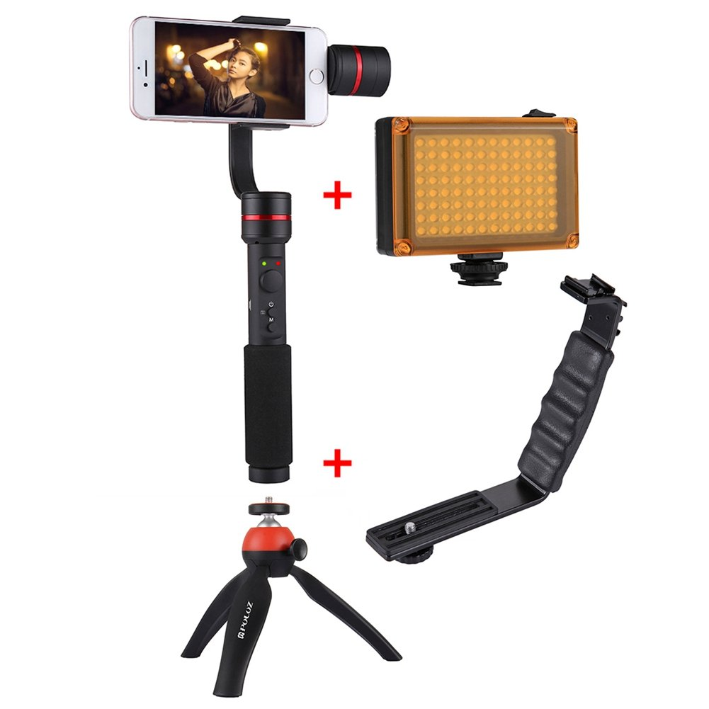 360° 3-Axis Handheld Selfie Phone Gimbal Steadicam Mount+L Bracket+LED Light