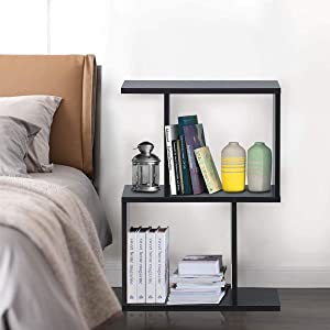 Giantex 2-Tier Bookshelf S Shaped Bookcase, Free Standing Industrial Storage Rack, Suit for Living Room Bedroom Office, Modern Small Bookcase (Black, 1)