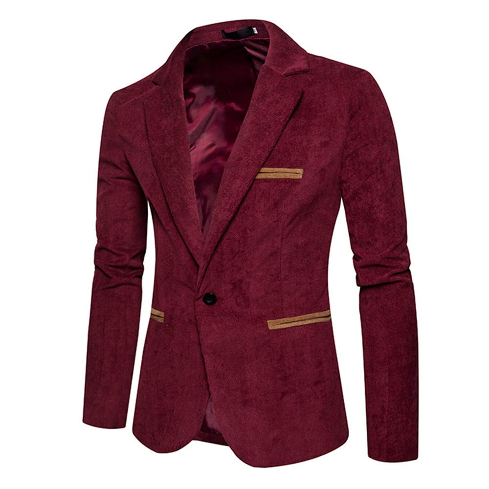Axchongery Mens Slim Blazer Casual One Button Sport Coat Corduroy Blazer Jacket for Men Youth