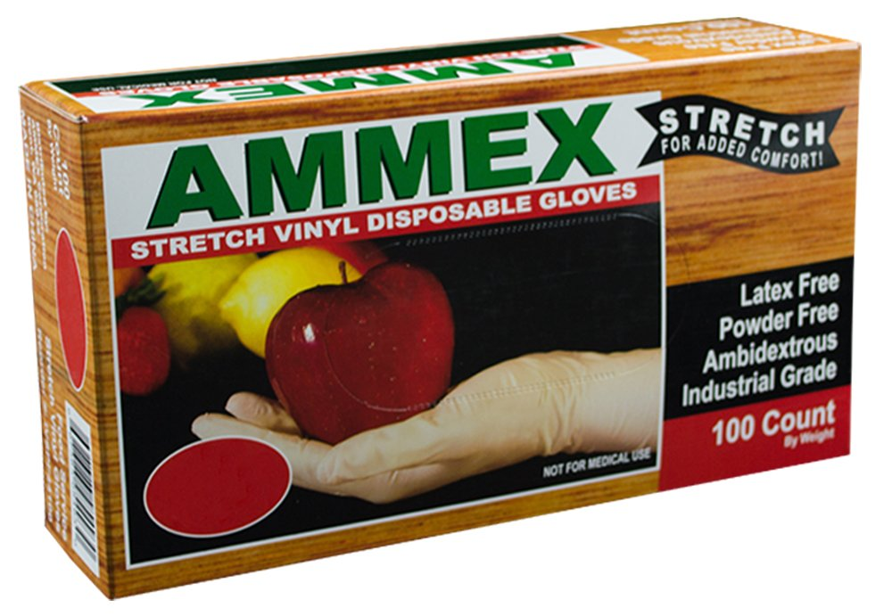 AMMEX Stretch Synthetic Ivory Vinyl Latex Free Disposable Gloves (Case of 1000)