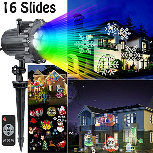 Halloween Christmas Decorations (Hottly Led Christmas Light Projector - 2017 Newest Version Bright Led Landscape Spotlight with 16 Slides Dynamic Lighting Landscape Led Projector Light Show for Halloween, Party, Holiday Decoration)