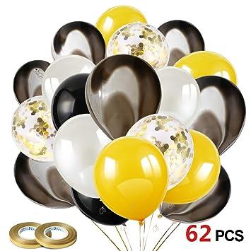 Howaf Globos Oro Negro Plata, 60 Piezas Globos de látex Confetti Globos Dorado para Mujeres Hombres Cumpleaños Decoración, graduación, Fiesta de ...