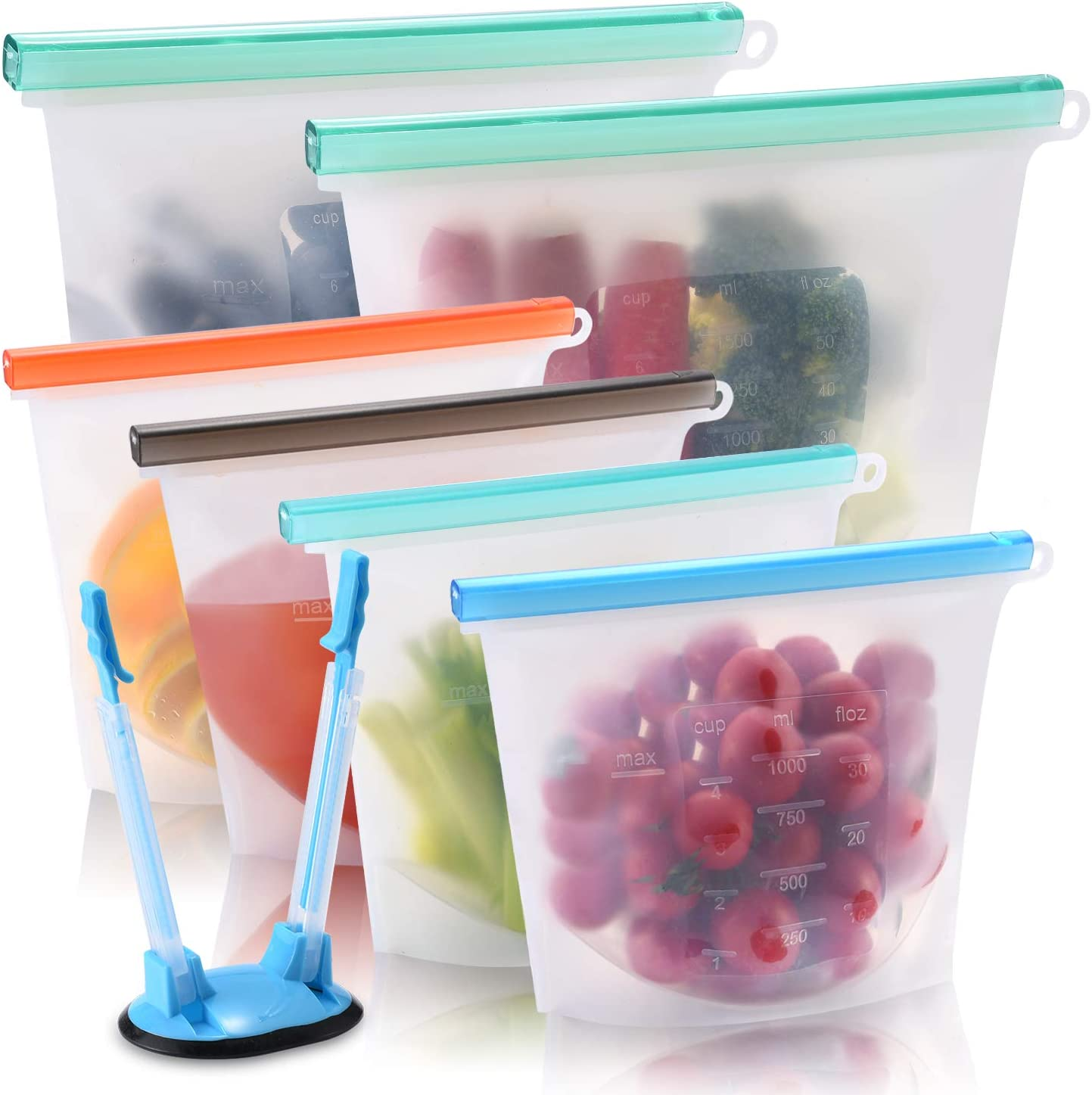 Reusable Silicone Food Storage Bags, 2 Large 50oz Reusable Sandwich Bags and 4 Medium 30oz Silicone Snack Bags, Freezer Airtight Seal Reusable Food Preservation Bags for Fruit, Vegetables, Meat, Lunch