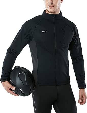 TSLA Men's Winter Cycling Jackets, Cold Weather Workout Running Jacket, Warm Thermal Softshell Bike Windbreaker