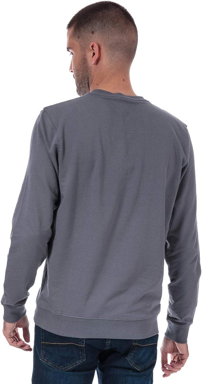 Weekend Offender Uomo Birra Logo Crew Sweat in Grey Polsini a costine Colletto e